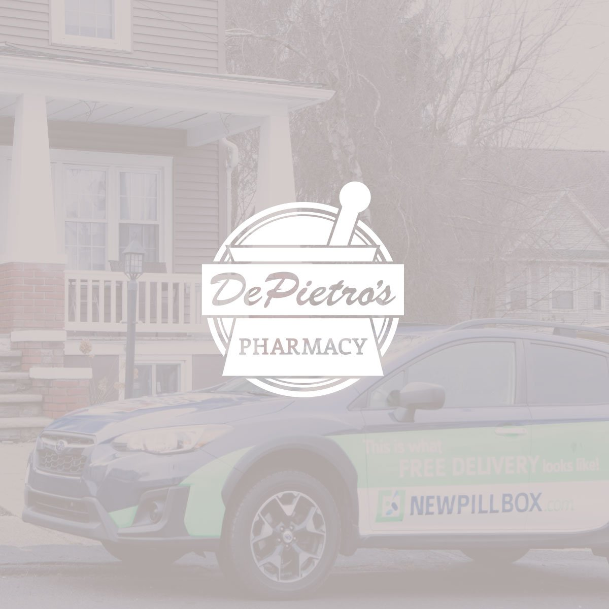 logo overlaying image of delivery vehicle designed for DePietro's Pharmacy brand