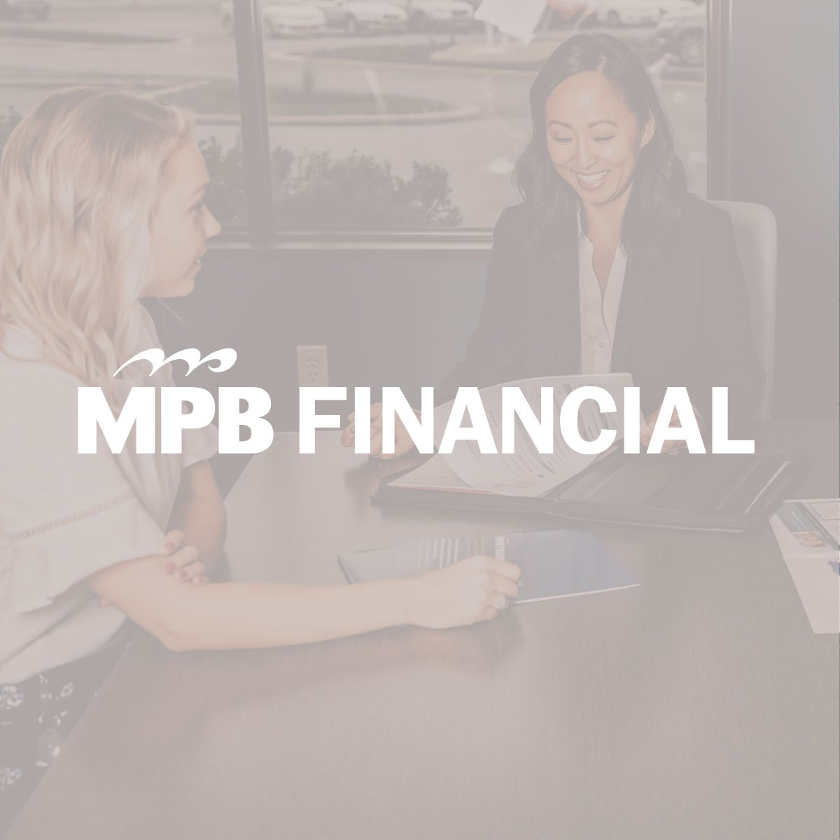 logo overlaying image of team designed for MPB Financial brand