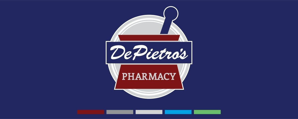 logo design with brand color palette for DePietro's pharmacy
