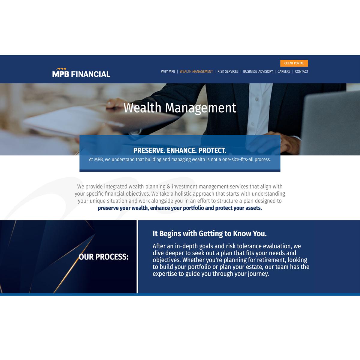 website design for MPB Financial