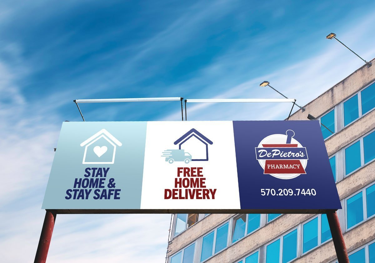 billboard design advertising home delivery for DePietro's pharmacy