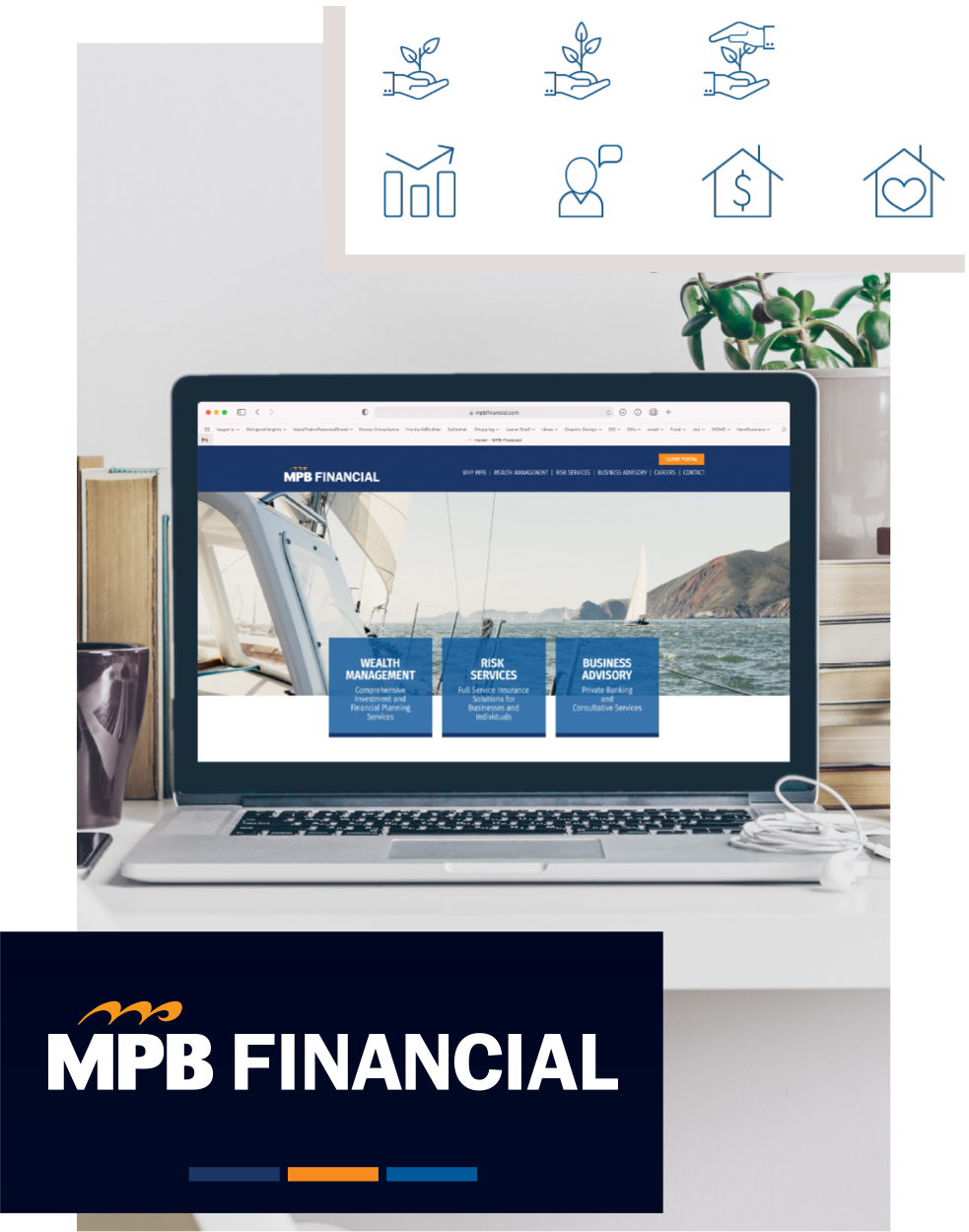 website design and brand icons and logo for MPB Financial
