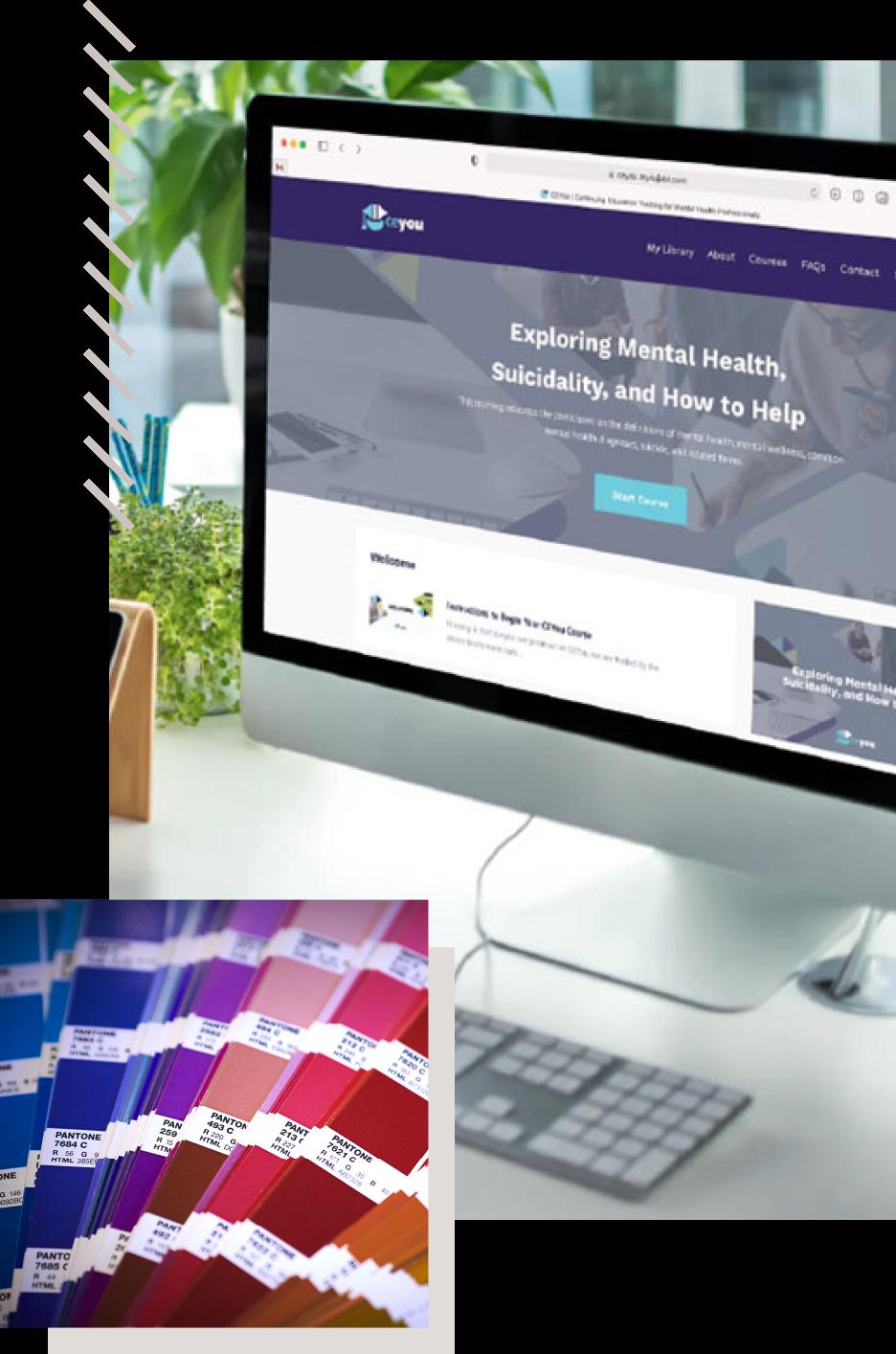 website design and brand colors for CE You continuing education platform