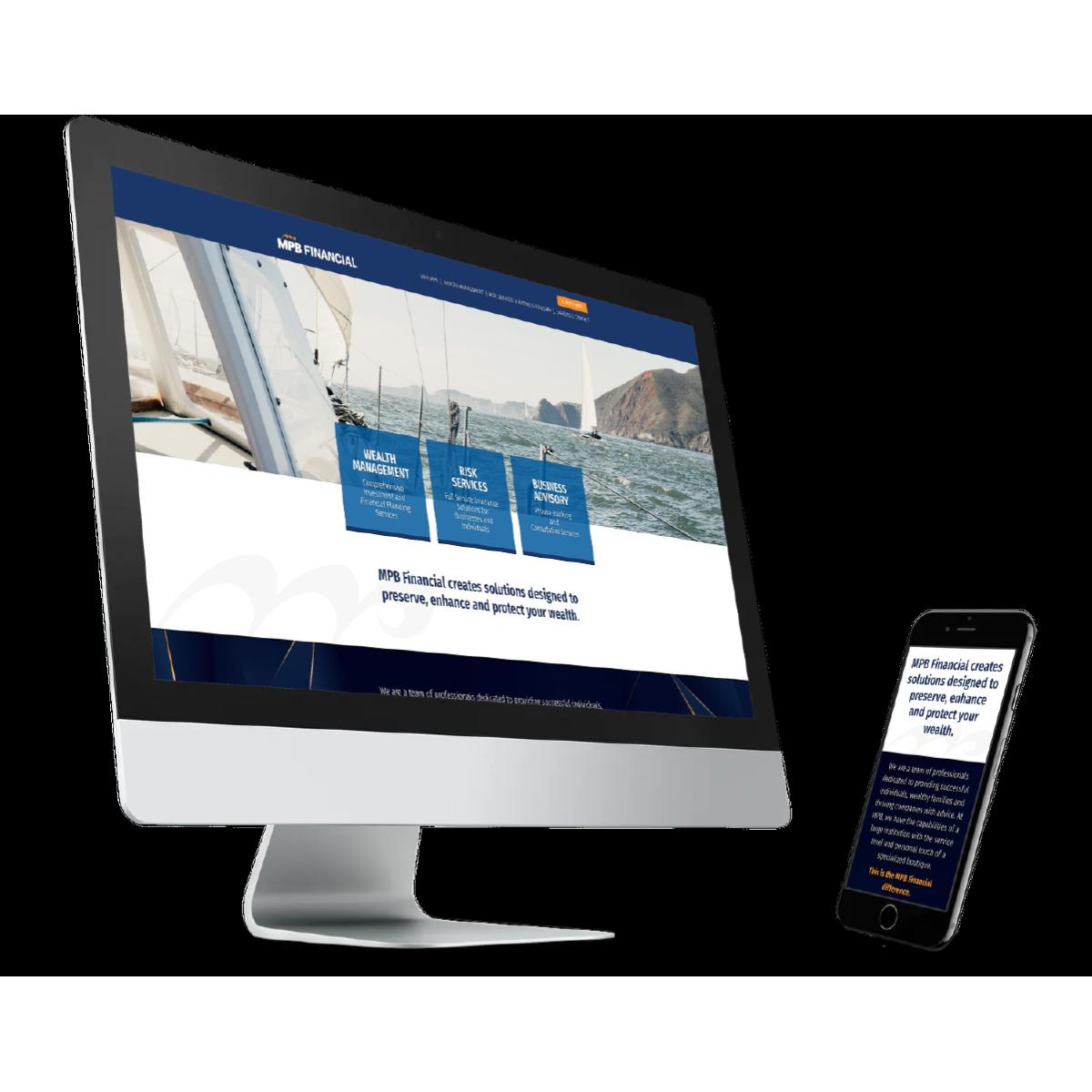 desktop and mobile website design for MPB Financial